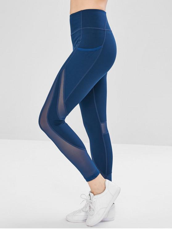10955175c23ee8 19% OFF] 2019 Mesh Pockets Panel Sports Leggings In PEACOCK BLUE | ZAFUL