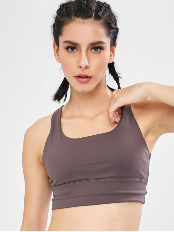 outfits Strappy Padded Mid Impact Sports Bra - TAUPE L
