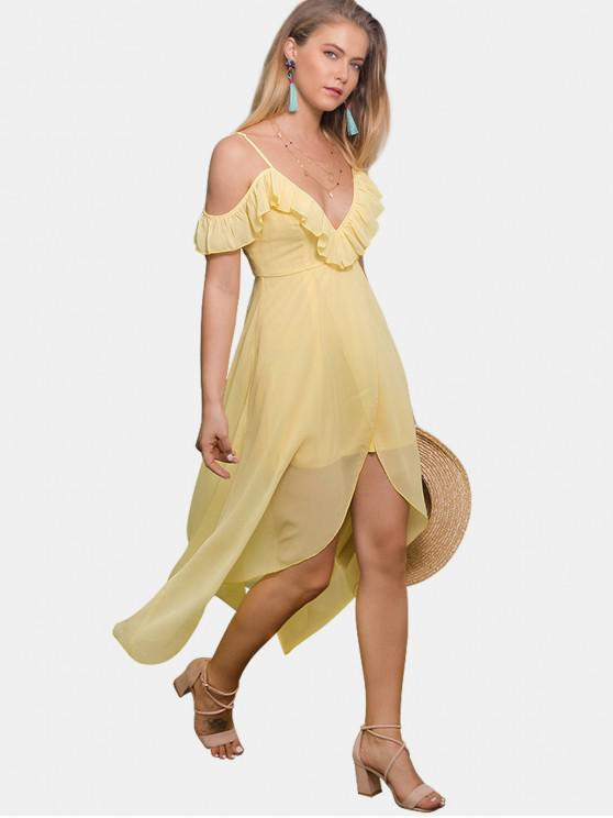 best Ruffles Cold Shoulder Dress - YELLOW M