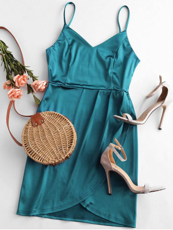 latest Shiny Mini Bodycon Cami Party Dress - PEACOCK BLUE L
