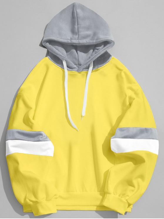Sudadera con capucha de bloque de color de empalme con cordón - Amarillo M