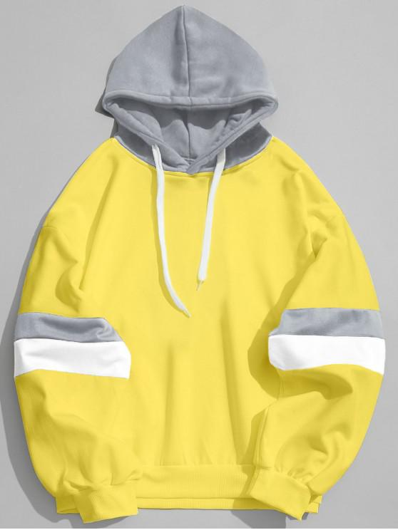 outfit Drawstring Splicing Color Block Hoodie - YELLOW L