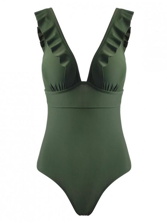 outfit Ruffles Back Lace Up One-piece Swimsuit - ARMY GREEN M
