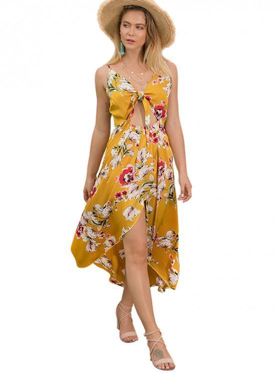 shop Floral Cutout Cami Dress - YELLOW S