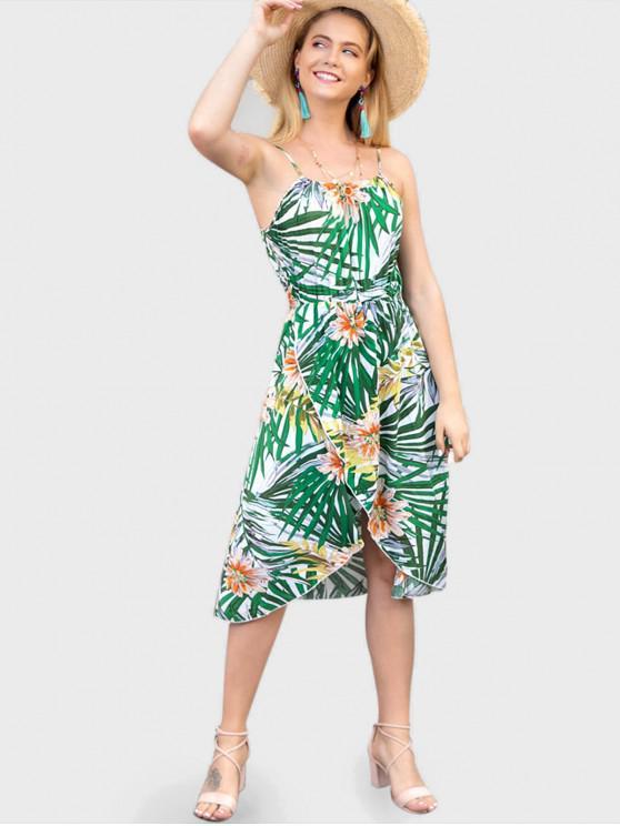 trendy Leaf Floral Print Cami Dress - MULTI-A L
