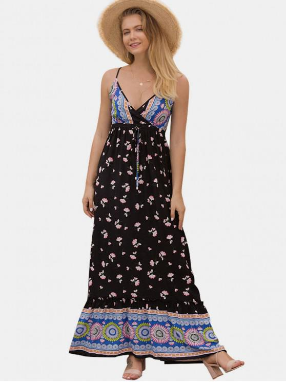 fancy Floral Shirred Maxi Cami Dress - MULTI S