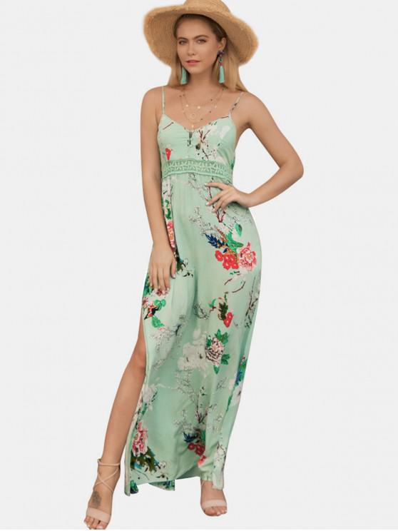 sale Slit Floral Lace Panel Maxi Cami Dress - GREEN S