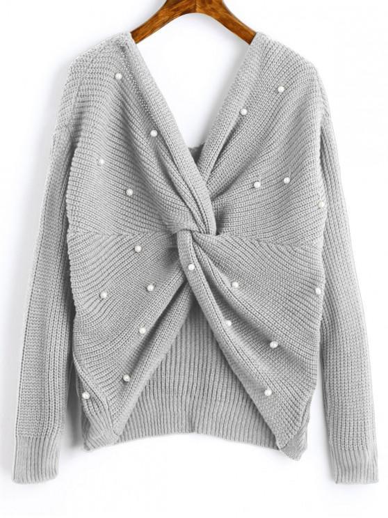 Suéter Pérolas Artificiais Gola V com Enrolado - Nuvem Cinzento Um Tamanho