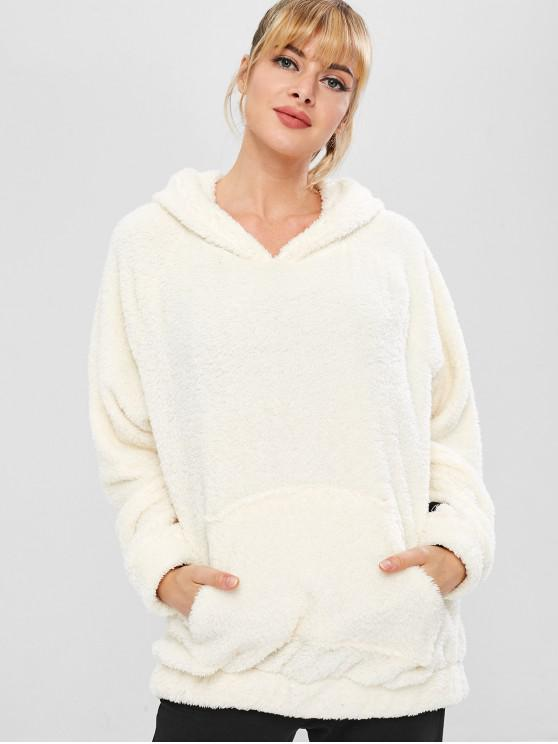 women's Fluffy Raglan Sleeve Teddy Hoodie - WHITE L
