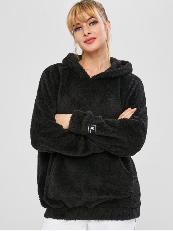 lady Fluffy Raglan Sleeve Teddy Hoodie - BLACK M