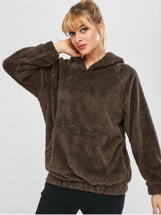 new Fluffy Raglan Sleeve Teddy Hoodie - COFFEE M
