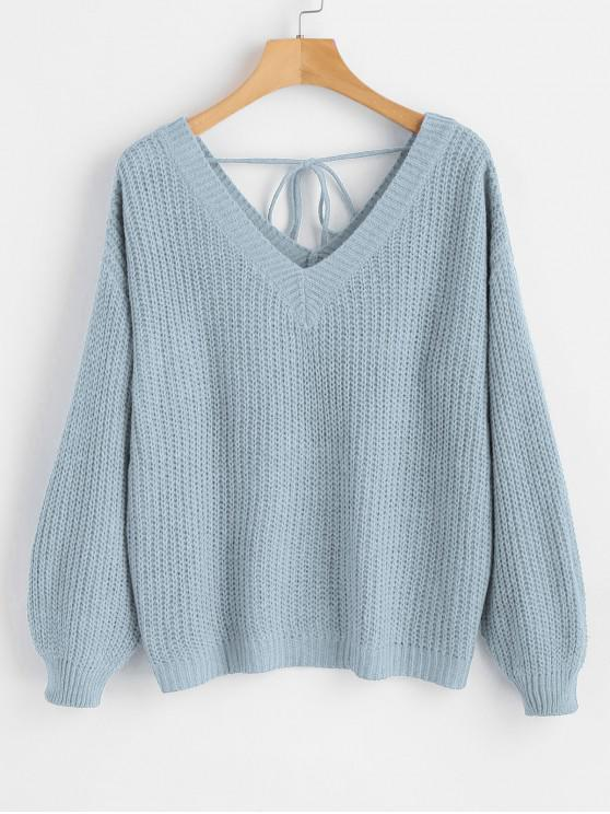 womens Drop Shoulder V Neck Oversized Sweater - LIGHT BLUE M