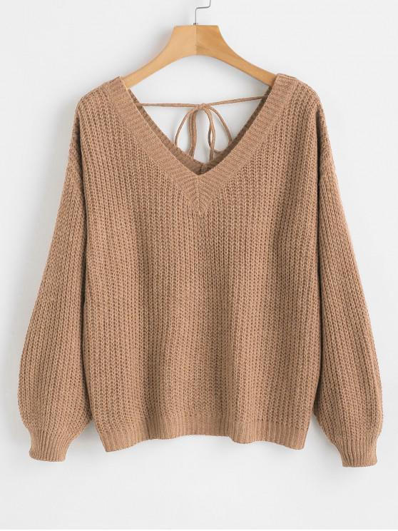 women's Drop Shoulder V Neck Oversized Sweater - CAMEL BROWN S