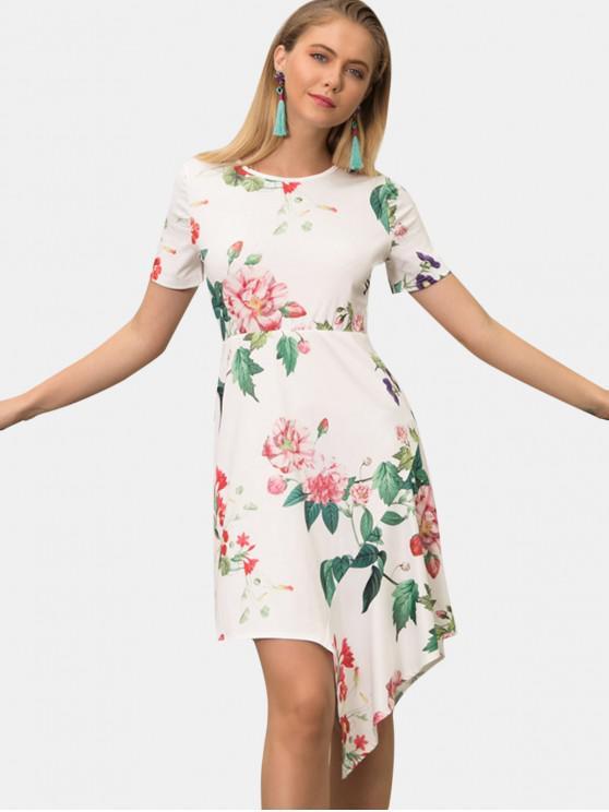 womens Plant Print Asymmetrical Dress - WHITE XL