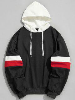Drawstring Splicing Color Block Hoodie - Black M