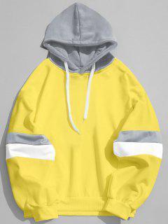 Drawstring Splicing Color Block Hoodie - Yellow S