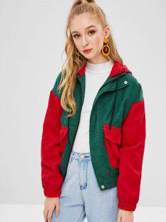 Color Block Corduroy Hooded Jacket - Multi-a M