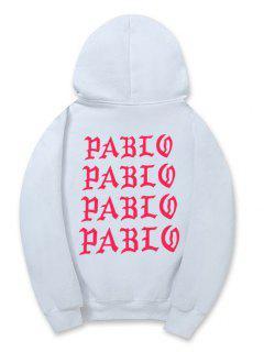 Letter Pattern Fleece Pullover Hoodie - White Xs