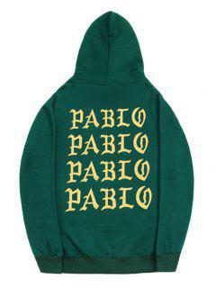 Letter Pattern Fleece Pullover Hoodie - Medium Sea Green M