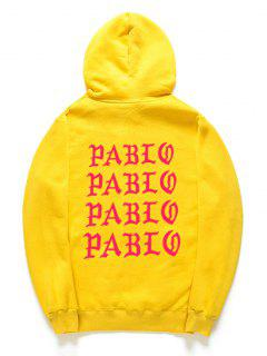 Letter Pattern Fleece Pullover Hoodie - Yellow Xs