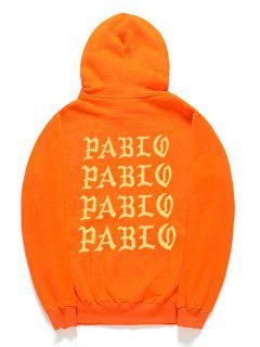 Letter Pattern Fleece Pullover Hoodie - Pumpkin Orange M