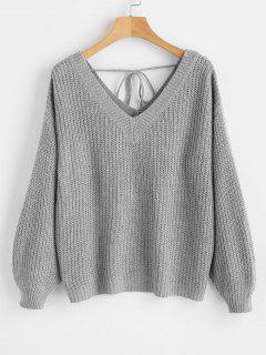 Suéter De Gran Tamaño Con Cuello Caído Y Escote En V - Gris Claro M