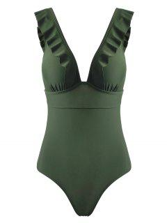 Ruffles Back Lace Up One Piece Swimsuit - Army Green L