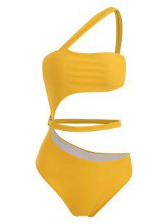 ZAFUL One Shoulder Belt Cut Out Swimsuit - Goldenrod L