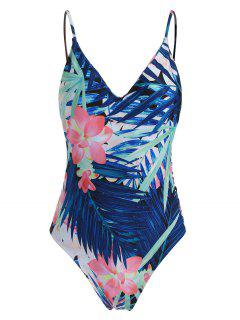Cut Out Tropical Print One-Piece Swimwear - Blue Xl