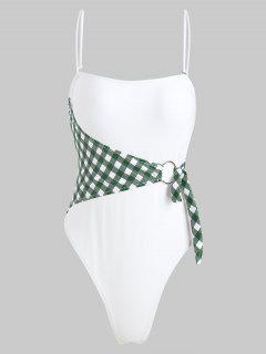 ZAFUL Checked Ring High Cut Swimsuit - White M