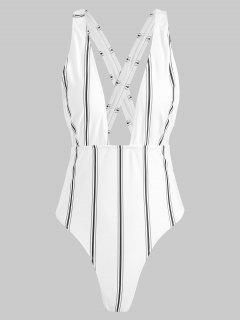 ZAFUL Striped Criss Cross Plunging Swimsuit - White M