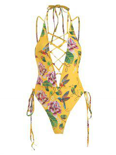 ZAFUl One Piece Floral Lace Up High Cut Swimsuit - Corn Yellow M