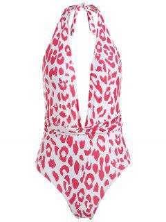 Printed Halter One Piece Swimsuit - Love Red L