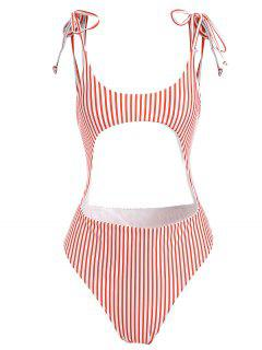 Striped Cutout Tie Shoulder Swimsuit - Red S