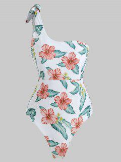 Flower One Shoulder High Leg Swimsuit - White S