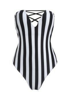 Striped High Cut Tube Swimsuit - Black L