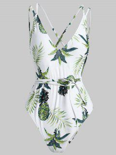 Crisscross Tropical One Piece Swimsuit - White S