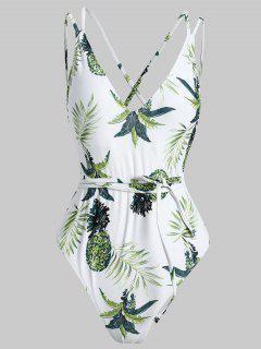 Crisscross Tropical One Piece Swimsuit - White L