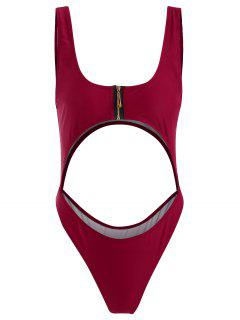 Bralette Zipper Cut Out Swimsuit - Red Wine S