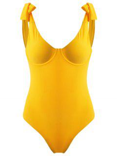 Tie Shoulder Underwire Swimsuit - Bright Yellow L