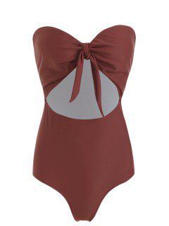 ZAFUL Strapless Knot One Piece Swimwear - Chestnut S
