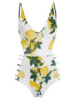 Ladder Straps Lemon Cut Out Swimsuit - White S