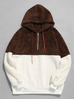 Faux Fur Half Zip Panel Hoodie - Coffee S