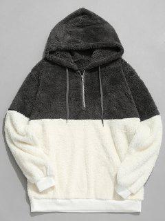 Faux Fur Half Zip Panel Hoodie - Dark Gray M