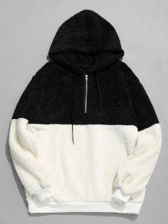 Faux Fur Half Zip Panel Hoodie - Black M