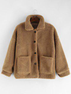 Solid Button Up Fluffy Jacket - Camel Brown M