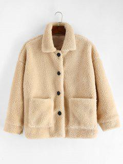 Solid Button Up Fluffy Jacket - Warm White Xl