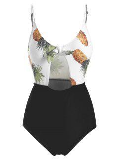 Maillot De Bain De Taille Haute Avec Noeud Et Imprimé D'ananas  - Blanc Xl