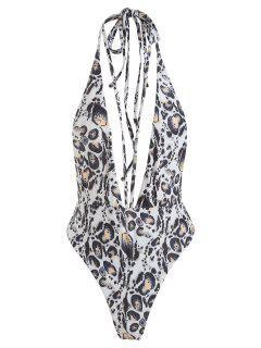 Leopard Backless Bralette Swimsuit - Warm White S