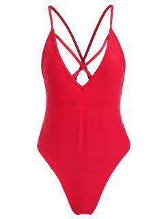 ZAFUL Criss Cross Backless Swimsuit - Red L